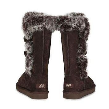 """UGG"" Winter Fashionable Women Fur Wool Snow Half Boots Shoes Coffee I/A"