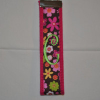 Hot Pink Webbing with flower Grosgrain  ribbon-Monogrammed Key Fob Keychain Cotton Webbing Ribbon Wristlet