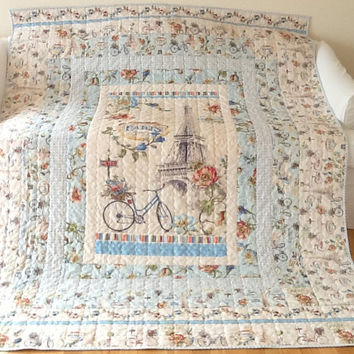 Paris Forever Quilt Eiffel Tower Quilt Handmade Twin Quilt Shabby Chic Quilt Homemade Quilt 67 x 85 inches Free Shipping Canada and USA