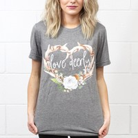 Love Deerly Antler Wreath Tee {Grey Tri-Blend} - Size LARGE