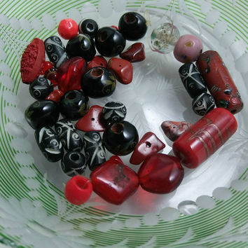 Hand carved bone bead mix, large holes bead mix, agate chunks, cinnabar, mosaic, Jasper, red & black bead mix