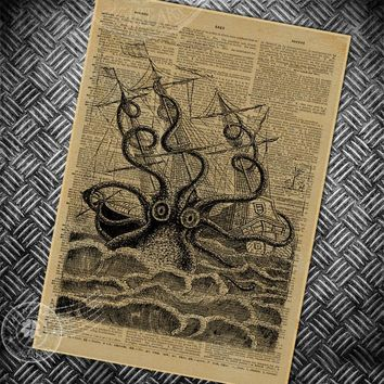 vintage poster retro abstract octopus painting bedroom living room wall art picture old newspaper photo classic posters 42x30cm