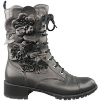 VALENTINO Size 8.5 Black Leather Floral Applique Lace Up Combat Boots