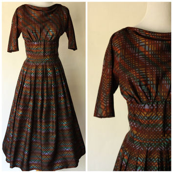 1940s Dress | 1940s Gown | 1940s Small Dress | 1940s Medium Dress | R&K Original Dress | 1940s Plaid Dress