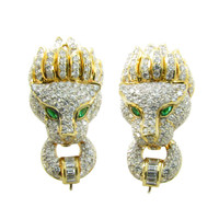 A Pair of Diamond and Emerald Lion Head Earrings Set in Gold.