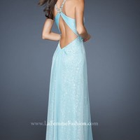 Jeweled Strap Gown by La Femme