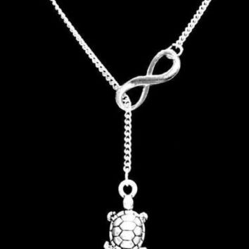Turtle Charm Gift Animal Nautical Ocean Daughter Infinity Lariat Necklace