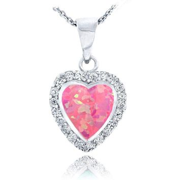 Sterling Silver Lab Created Pink Opal & Cubic Zirconia Heart Necklace