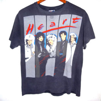 Vintage 1986 Heart Tour Shirt - Small - Super Faded Rock Tee - 80s Band Shirt -