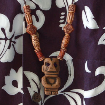 Deluxe Tiki God Necklace with Purple Jewel Eyes cast from original Randotti mold #819c.