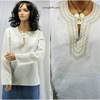 Linen tunic top size M white linen / gold embroidered kaftan top boho hippie linen shirt SunnyBohoVintage