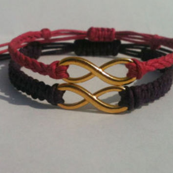 Couples Matching Infinity Bracelets You Choose Cord Color and Charm Finish