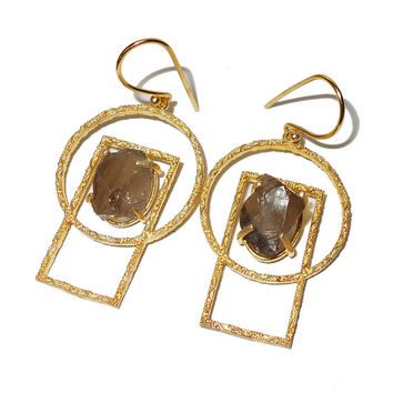 Smoky Quartz Earrings - Brown Stone Earrings - Gift For Her - Matte Gold Earrings - Women Earrings - Holiday Gift Jewelry, Handmade Earrings