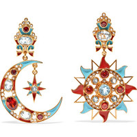 Percossi Papi - Gold-plated and enamel multi-stone clip earrings