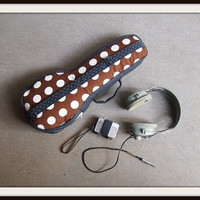 Soprano ukulele case - SALE - The Brown - Brown and White Polka dot Ukulele Case (Ready to ship)