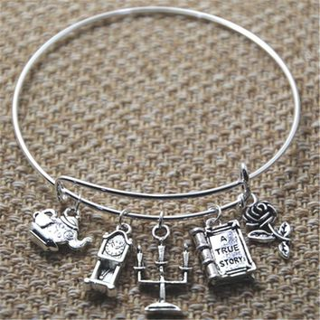 12pcs  Beauty and the Beast inspired bracelet silver tone rose tea pot charm bangles