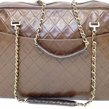 Auth CHANEL LambSkin Leather CC Charm Tote Purse Gold chain Handbag Shoulder Bag