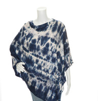 Navy Blue Tie Dye Poncho / Nursing Cover/ Lightweight Shawl/ One shoulder tunic top / Versatile Boho Top / Gift for her