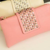 Trendy Leather Rivet Handbag/Wallet/Clutch Purse