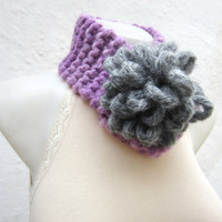 Removeable Brooch Pin -Cowl- Hand Knitted Neck Warmer  - Women  Winter  Accessories Lilac Grey