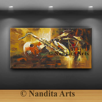 Large Music Art Abstract Wall Art Guitar Modern Music Room Decor Painting Saxophone Drum - Original Artwork by Nandita Albright