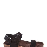 FOREVER 21 Buckled Faux Suede Sandals Black