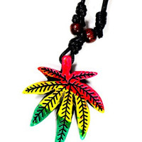 Rastafarian Pot Leaf Necklace Marijuana Rasta Weed NO02 Faux Leather Wood Pendant