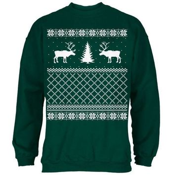 CREYCY8 Reindeer Caribou Ugly Christmas Sweater Forest Adult Sweatshirt