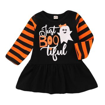 Toddler Kids Baby Girl Halloween Dress Long Sleeve  Pumpkin Print Patchwork Princess Girls Holiday Party Costume girls clothes