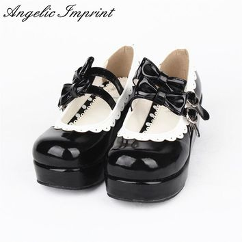 Japanese Sweet Lolita Cosplay Shoes Double Bowtie Buckle Straps Lace Trim Princess Platform Shoes