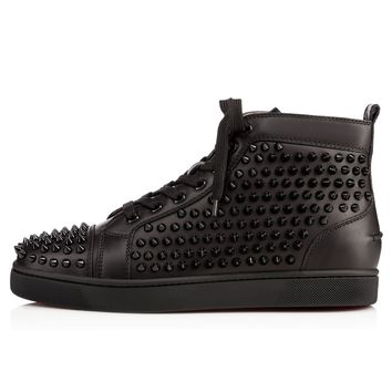 Christian Louboutin Cl Louis Spikes Men's Flat Black/black/bk Leather Classic Sneakers - Ready Stock