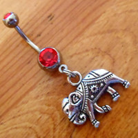 Belly button ring - Silver Elephant with Red Gem Belly Button Ring