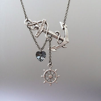 Lost Heart at Sea Necklace by SBC Silver Plated Anchor Silver Swarovski Heart Silver Ship Wheel Gunmetal Chain Made to Order