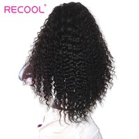 Recool Hair Deep Wave Brazilian Hair Weave Bundles Natural Black Color Remy Human Hair Extensions Can Buy 3/4 Bundles for Wig