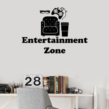 Vinyl Wall Decal Entertainment Zone Video Games Film Room Decor Stickers Mural (ig5266)