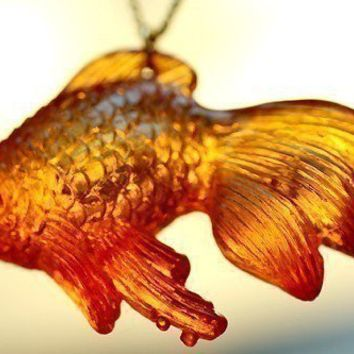 The Chubby Koi Necklace sale by crumpetcake on Etsy