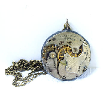 Elgin Pocket Watch Necklace, Antique Watch Face Pendant, Steampunk Jewelry, Soldered Jewelry, Watch Necklace, Vintage Pocket Watch Necklace