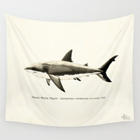 Carcharodon carcharias II Wall Tapestry by Amber Marine