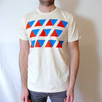 Red and Blue Triangles Organic TShirt by JessalinBeutler on Etsy