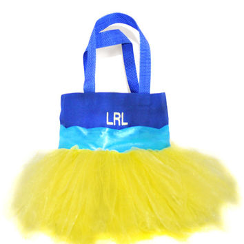 Blue Tutu Bag with Monogram Name Embroidered on it.  Bright Blue Satin Ribbon.  Little Girl's Tote, Dance Clothes Bag, Princess Style