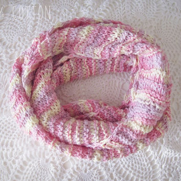 FREE SHIPPING - Pastel Pink 100% Cotton Infinity Scarf - Romantic Shabby Chic -Cotton Hand Knitted - Eco Friendly