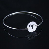 Aries  Silver Bracelet ,constellation Charm Bangle,Silver Jewelry ,Custom Gift for Women