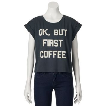 Recycled Karma ''ok, But First Coffee'' Crop Top - Juniors, Size: