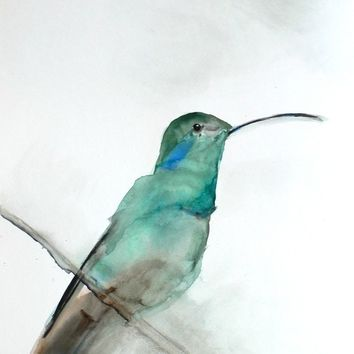 30% Off Sale - Bird Watercolor Painting - Hummingbird Art - Gift for Her - August - 8 x 10 Giclee Print