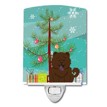 Merry Christmas Tree Chow Chow Chocolate Ceramic Night Light BB4266CNL
