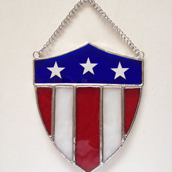Handmade Stained Glass Patriotic Shield Suncatcher