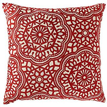 "Stone & Beam Medallion Pillow, 17"" x 17"", Henna"