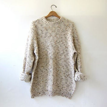 vintage oatmeal speckled sweater. oversized sweater. chunky knit pullover.