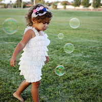 White Petti Lace Romper, Baby Girls Clothes, Girls Birthday Outfit, Photo Props, Weddings, Tea Parties