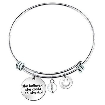 She Believed She Could so She Did Inspirational Expandable Wire Bangle Bracelet 25quot